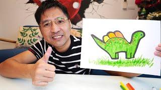 Hướng Dẫn Bé Vẽ Con Khủng Long Từ Hình Bàn Tay   How To Drawing Dinosaurs From Your Hand