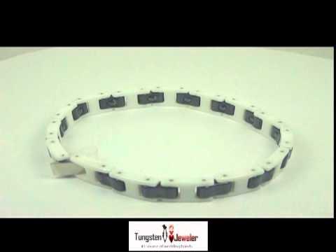Black & White Ceramic H-Link Magnetic Bracelet | Offered By TungstenJeweler.com