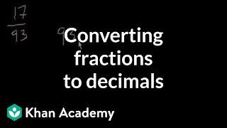 Converting fractions to decimals   Decimals   Pre-Algebra   Khan Academy