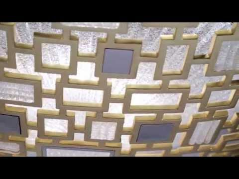 Video for Motif Gold Leaf with Polished Stainless Accents 42-Inch Five-Light Pendant