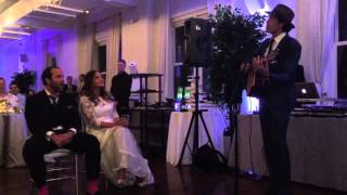 Evan Lowenstein singing 'Crazy for this Girl' at the wedding of Ezra and Stephanie