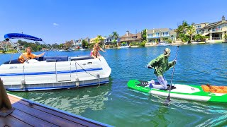 Pond Monster Steals Our Paddleboard! Boat Chase!!!