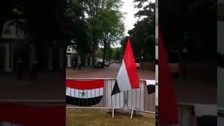 مشاركة الرفيق حسين الاحوازي في مظاهرات هلندا امام السفارة الايرانية
