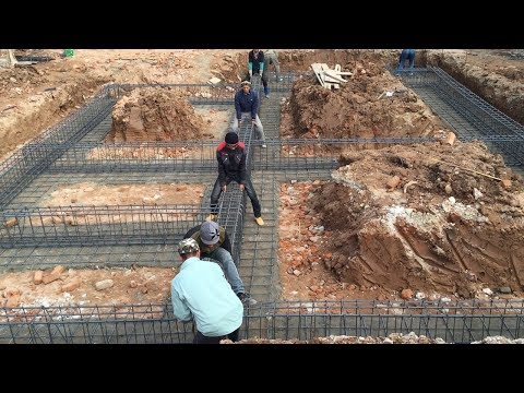 Traditional Beam Foundation Building - Install Iron Bars For Beam Column, House Construction(Part1)