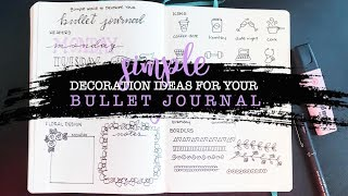 Simple Decoration Ideas For Your Bullet Journal | Headers | Floral Doodles | Icons | Borders