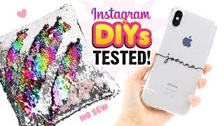 TESTING INSTAGRAM DIYS!! Remaking Viral Craft Ideas! DIY Phone Cases, Notebooks, Sequin Room Decor!