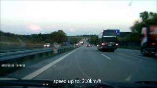 preview picture of video 'Rogue, Mercedes CLK 200  Kickdown 225km/h Speedup 140mph with DashCam 1080x720'
