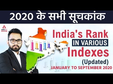 2020 के सभी सूचकांक | Jan to Sep 2020 | India's Rank In Various Indexes | Current Affairs Adda247