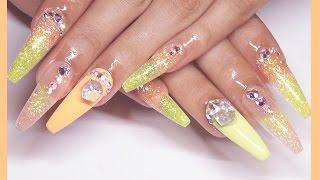 ✨GLOW Glitter Acrylic + Gel Nails Design✨