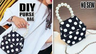 FANTASTIC DIY PURSE BAG DESIGN // Handmade Pearl Dotted Bag Tutorial No Sew