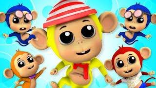 Пять маленьких обезьян   Обезьянки мультфильм   Five Little Monkeys