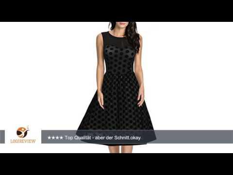 Missmay Damen Vintage 50er Jahr Kleid Abendkleid mit Polka Dots Aermellos Cocktailkleid schwarz