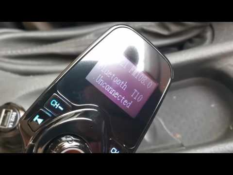 Transmisor FM Bluetooth para el coche, Yokkao® T10. Tarjeta MicroSD, entrada Auxiliar.