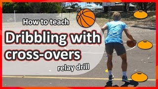 #2. How to teach: Dribbling with cross-overs › Relay drill | Basketball skills in PE