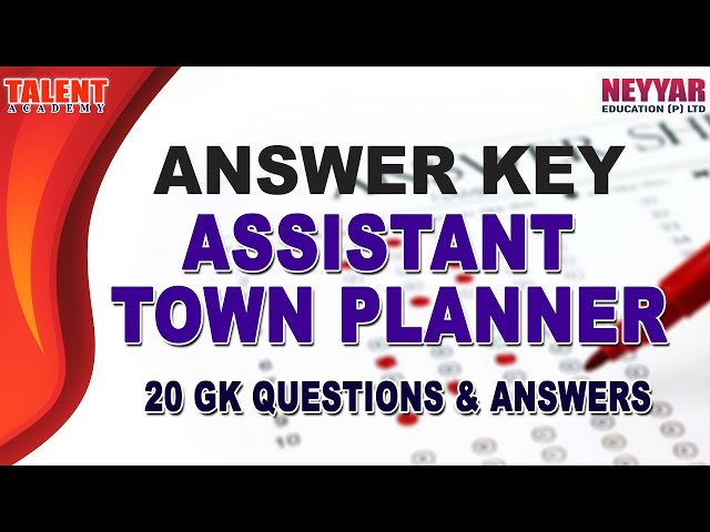 Kerala PSC Assistant Town Planner Exam (April 2019) GK Answer Key
