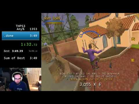Tony Hawk's Pro Skater 3 beaten in 3:42 by GeorgeThePlushie