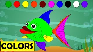 Learn Colors with Cartoon Fish | Kids Educational Videos | Learning Colours - for Children Kids