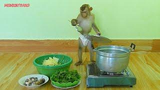 Chef Master Monkey Kako Cooking Soup Vegetables Recipe