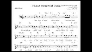"""What a Wonderful World"" Louis Armstrong Alto Sax Sheet music w/ lyrics and chords"