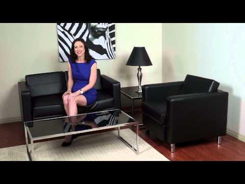Video for Pacific Black Faux Leather Sofa Couch with Spring Seats and Silver Color Legs