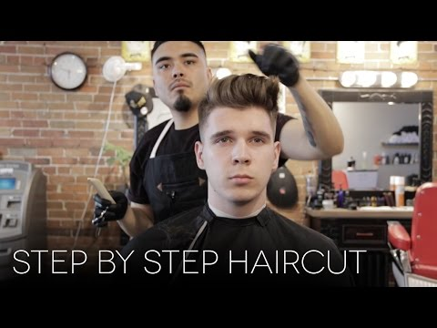 Mens Step By Step Faded Haircut Modern Quiff Hairstyle For Summer