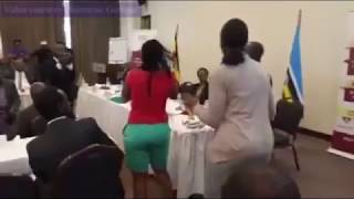 Ugandan storms tax meeting, grabs mic in protest -VIDEO