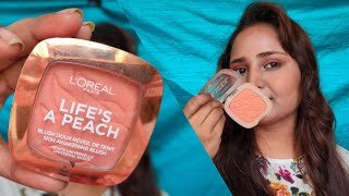 L'OREAL PARIS LIFE'S A PEACH POWDER BLUSH REVIEW || DRUGSTORE PEACH BLUSH