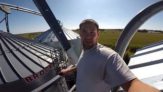Nobody got hurt!!  Moving our 117 foot, 7,300 pound conveyor to the top of our grain bins!