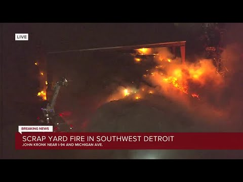 Scrap yard fire in Southwest Detroit