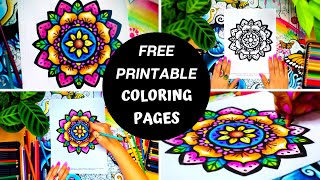 FREE MANDALA COLOURING PAGES ☆ For Adults & Children ☆ Mindfulness Colouring - Flower Coloring Page