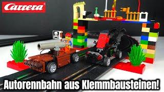 Carrera-Bahn aus Klemmbausteinen: Bob Brickman VS Brickstory Duell! | Review Set 'Build 'n Race'