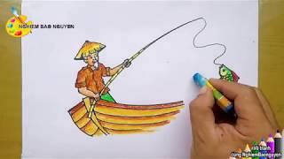 Vẽ tranh Ông già câu cá/Draw Old man fishing