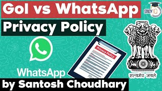 WhatsApp Privacy Policy - Indian Government warns WhatsApp with legal action - UPSC GS Paper 3 topic