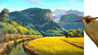 Acrylic Landscape Painting In Time-lapse / Mountains And Rice Fields / JMLisondra