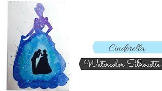 Watercolor Cinderella Silhouette Disney Painting