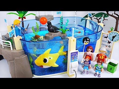 Let's go to Playmobil Family Fun Aquarium with Sea! Baby Shark, Nemo is playing! - PinkyPopTOY