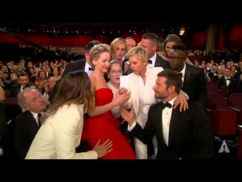 Ellen DeGeneres takes a selfie at the Oscars