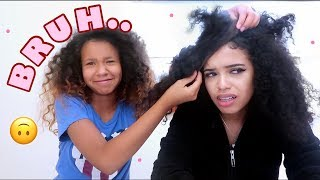 11 YEAR OLD SISTER DOES MY HAIR ft. Eullair
