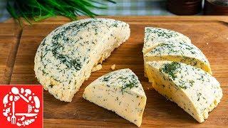 Домашний сыр из молока и кефира с зеленью. Самый простой рецепт