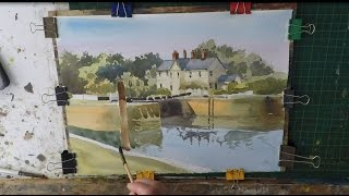 How to paint buildings and trees in watercolour