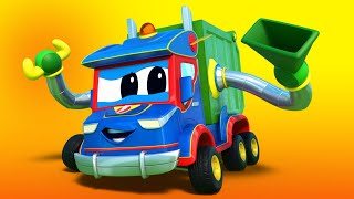 Truck videos for kids -  Super GARBAGE truck rescues the RACING CAR! - Super Truck in Car City !