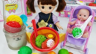 Baby Doll Kitchen cooking toys color change food Shop play - 토이몽