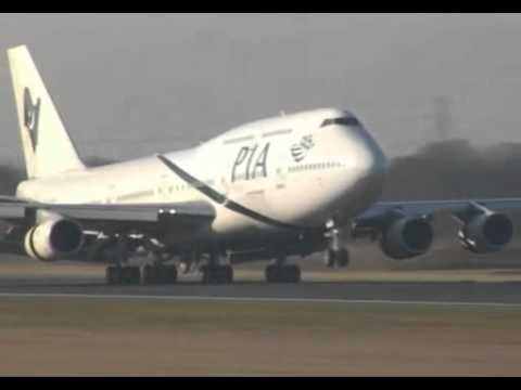 PIA Boeing 747-300  landing perfect must watch it amazing