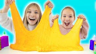 Amelia & Avelina pretend play making satisfying slime