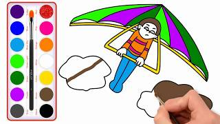 How To Draw Airplane Party   Painting For Toddlers And Drawing For Kids