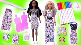 Coloring Barbie Doll Clothing Crayola Marker Craft Kit - Cookie Swirl Toy Video
