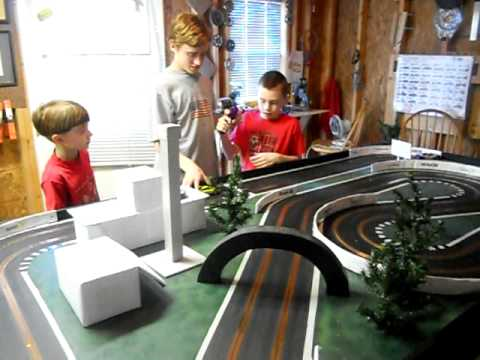 Fun with our Homemade Wooden Slot Car Track
