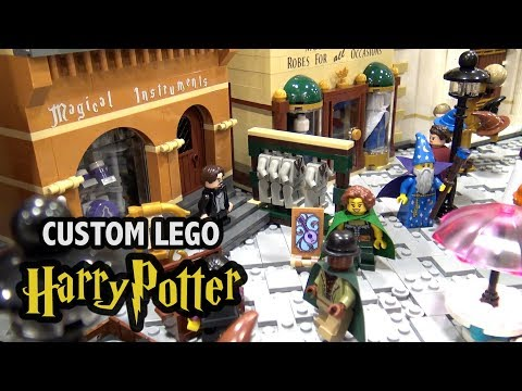 Amazing LEGO Diagon Alley with Full Interiors! Custom Harry Potter