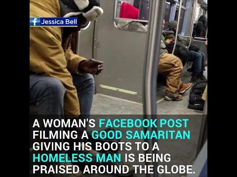 Good Samaritan Gives Homeless Man Winter Boots Off His Feet