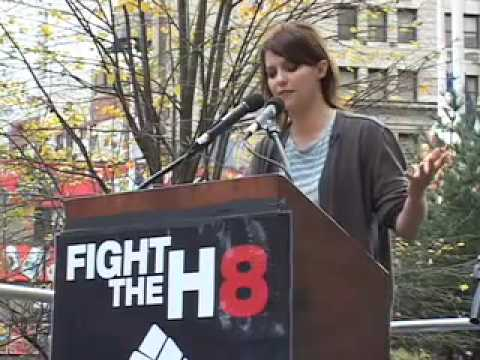 Kim Stolz speaks at Join Impact Prop 8 Rally City Hall NYC